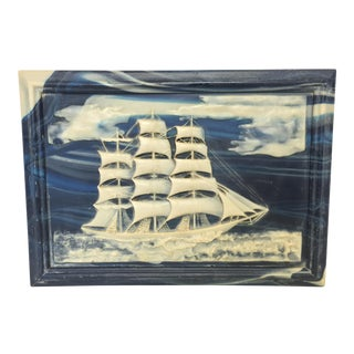 Vintage Blue Stone Incolay & Walnut Clipper Ship Box