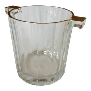 Mid-Century 22k Gold Plated Crystal Ice Bucket