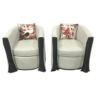 Neutral Fabric Swivel Chairs - A Pair
