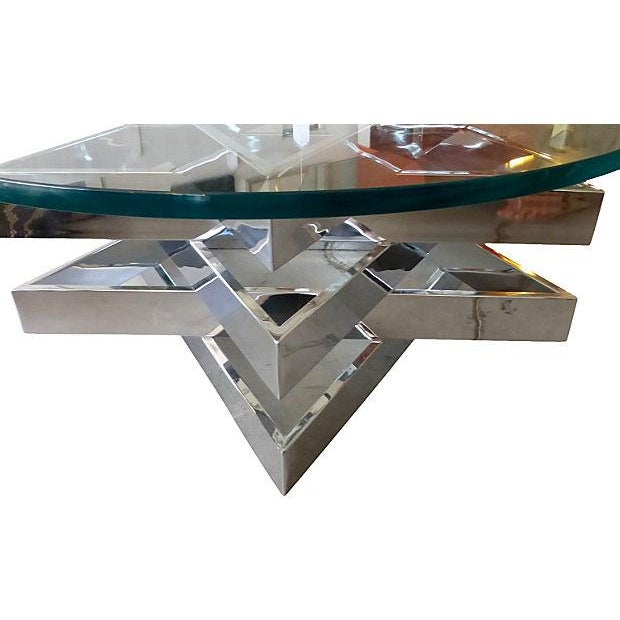 Three level chrome star coffee table chairish for 3 level coffee table
