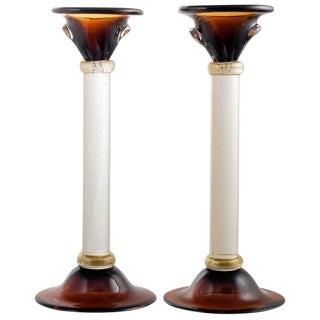 """Murano Amber & """"Avventurina"""" Glass Candlesticks - a Pair"""