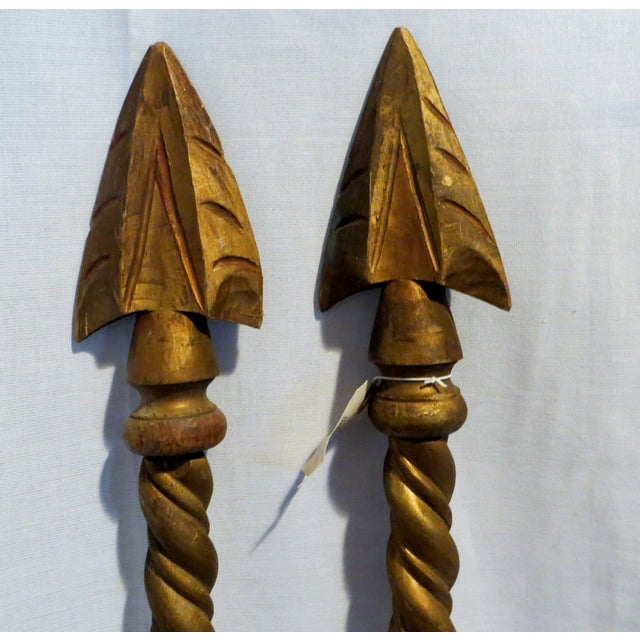 Image of Vintage Gold Arrow Drapery Rods - A Pair