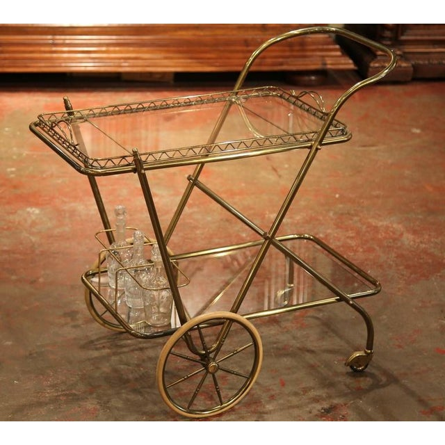 Mid-20th Century French Brass Cart With Removable Upper Tray - Image 4 of 10