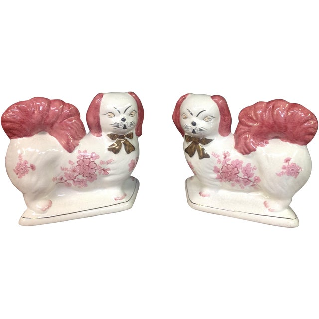 Image of Vintage Pink & White Staffordshire Dogs