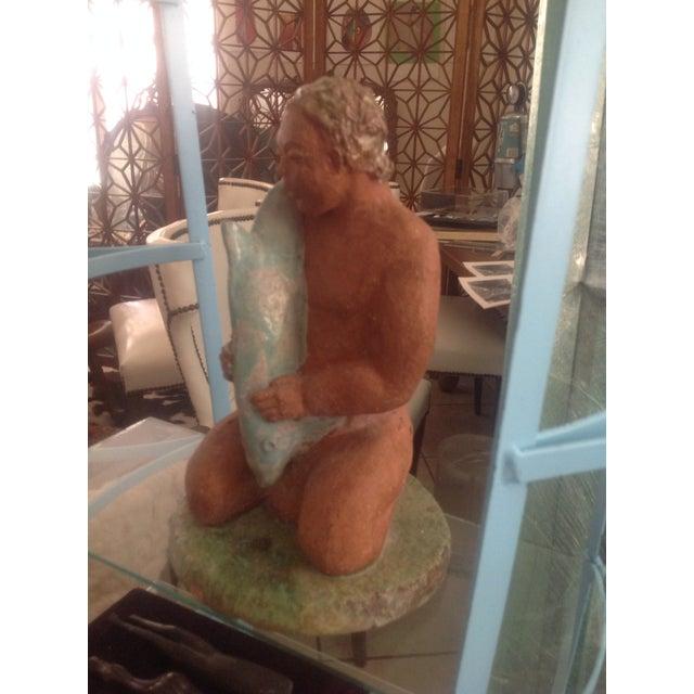 Image of Midcentury Art Deco Sculpture Teak Wood Woman Rare