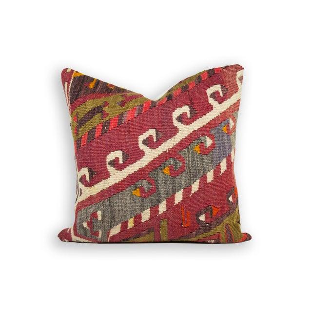 Ethnic Patterned Turkish Kilim Pillow - Image 2 of 3