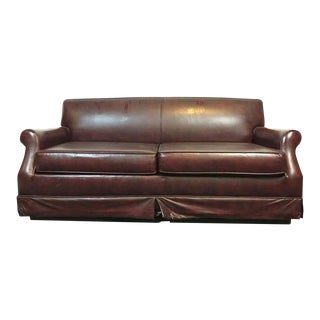 Vintage Brown Leather Upholstered Sofa