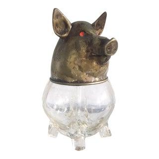 Vintage Glass and Brass Pig Head Jar