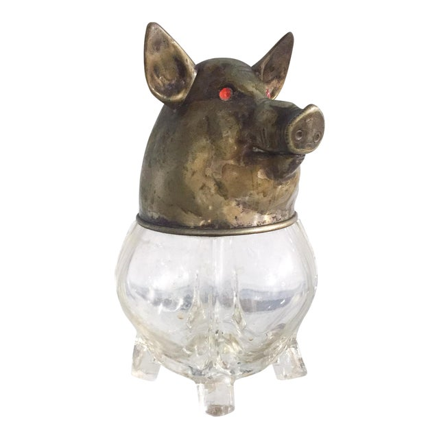 Image of Vintage Glass and Brass Pig Head Jar