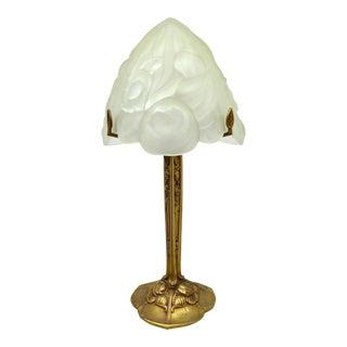Art Deco Bronze & Glass Table Lamp