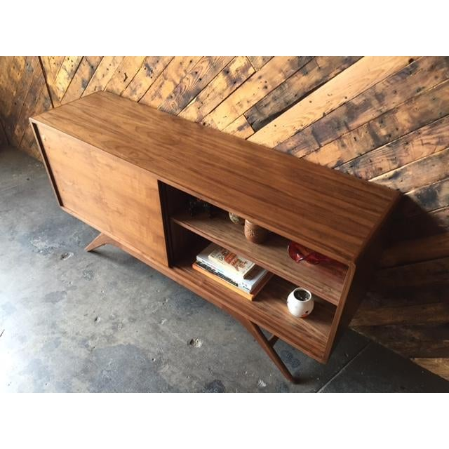 Mid Century Style Custom Walnut Sculpted Base Credenza - Image 4 of 9