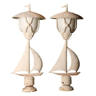 Mid-Century Cast Aluminum Post Lights - A Pair