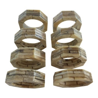 Bone Inlaid Napkin Rings - Set of 8