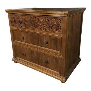 Antique Wooden Carved Floral Three-Drawer Dresser