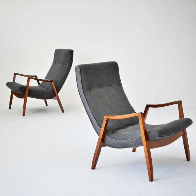 Milo Baughman Pair of Scoop Lounge Chairs - Image 3 of 7
