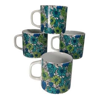 Holt Howard Blue Green Floral Coffee Mugs - Set of 4