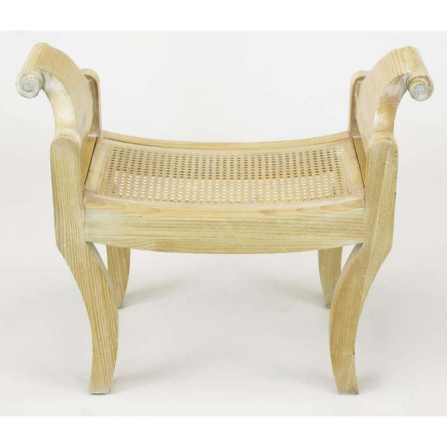 Pair Swedish Rococo Style White Glazed Pine Benches - Image 6 of 10