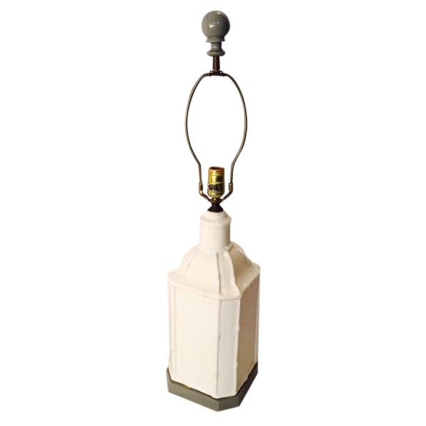 Hollywood Regency Gray Paint & White Pagoda Lamp - Image 1 of 5