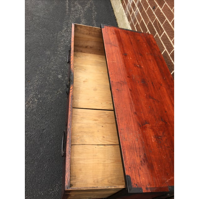 Two Drawer Primitive Chest with Metal Hardware - Image 9 of 10