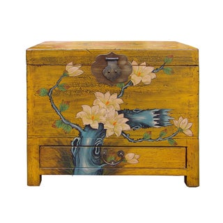 Chinese Yellow Floral Storage Chest
