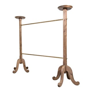 Parisian Brass and Bleached Oak Garment or Clothing Rack from Galeries Lafayette