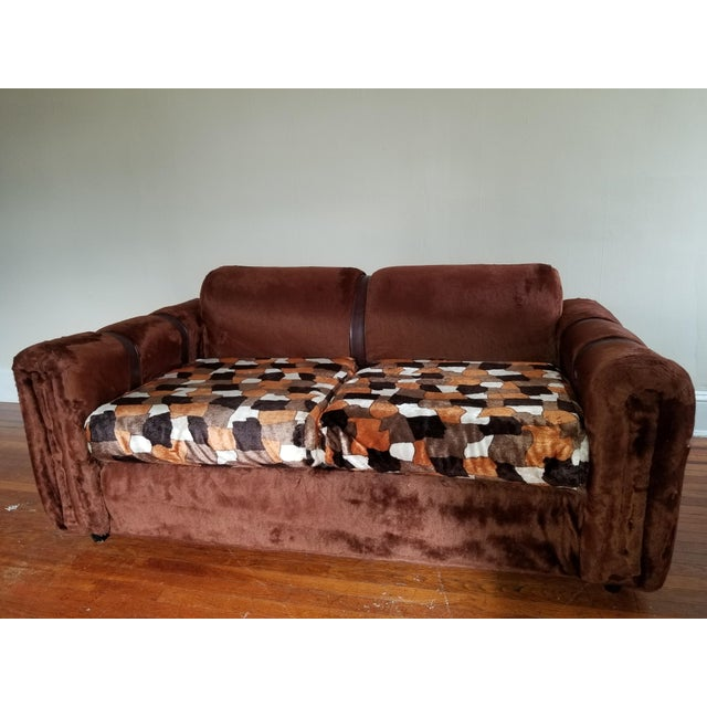 1970s Vintage Brown Fur/Orange Patchwork Pattern Loveseat - Image 6 of 6