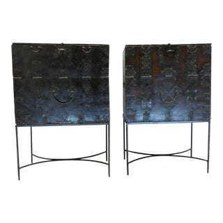 Pair 18th Century Tall Korean Chests on Iron Bases
