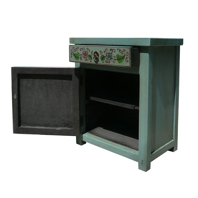 Oriental Pastel Blue Kid Scenery Side Table - Image 3 of 5