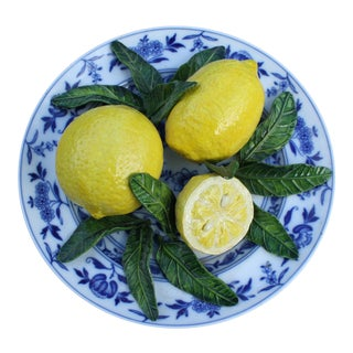 Vintage Trompe l'Oeil Plate of Lemons