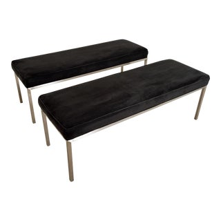 Mid Century Black Suede Upholstered Benches - Set of 2