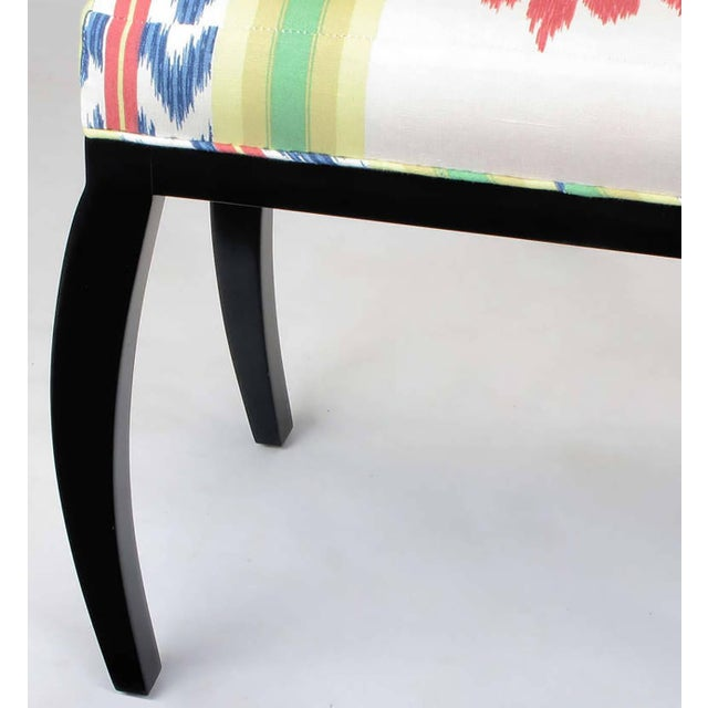 Pair of Interior Crafts Black Lacquer and Ikat Benches - Image 8 of 8