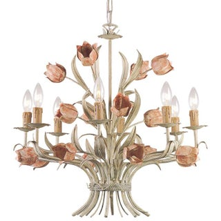 Sage Green & Pink Tulips Chandelier