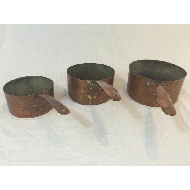 Antique Copper Pots with Dovetailing - Set of 3 - Image 4 of 10