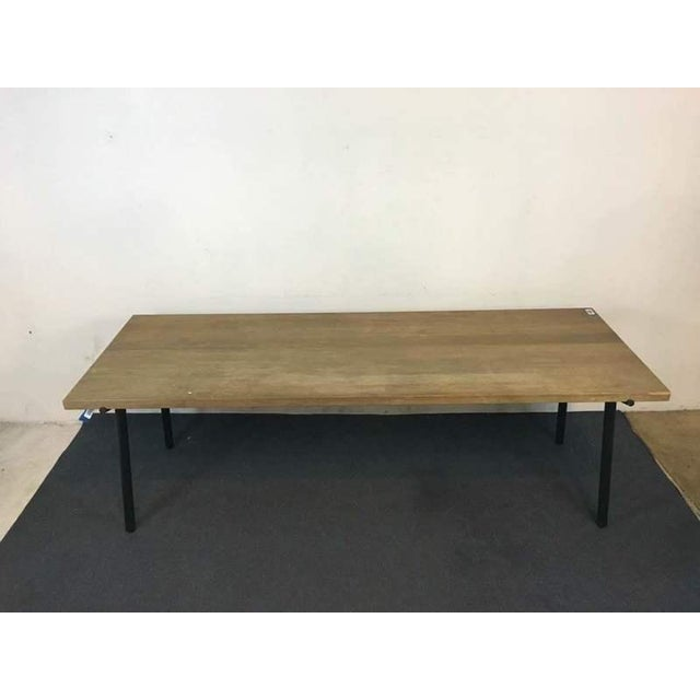 Contemporary Rustic Style Carved Oak & Metal Dining Table - Image 2 of 7