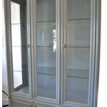 Image of Gray Faux Bamboo Drexel Cabinet W/Gold Accents