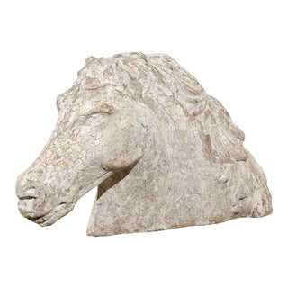 French Stone Horse Head Sculpture with Weathered Patina from the 1930s