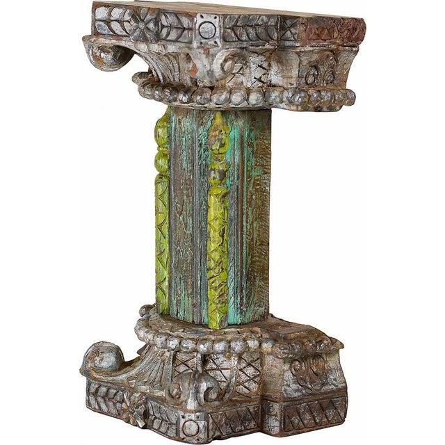 Dark Verdigris Green Ornate Pedestal Light: Architectural Dark & Lime Green Décor Pedestal