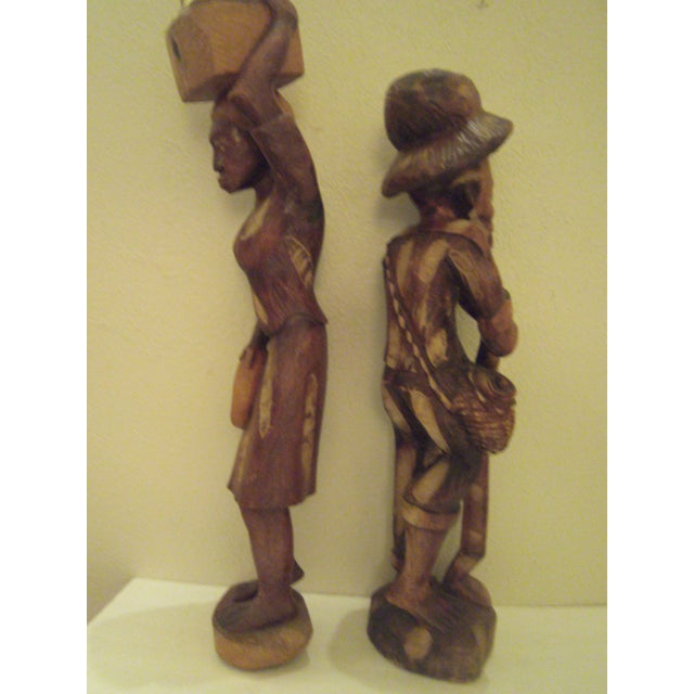 Vintage Wooden Carved Figures - Pair - Image 6 of 11
