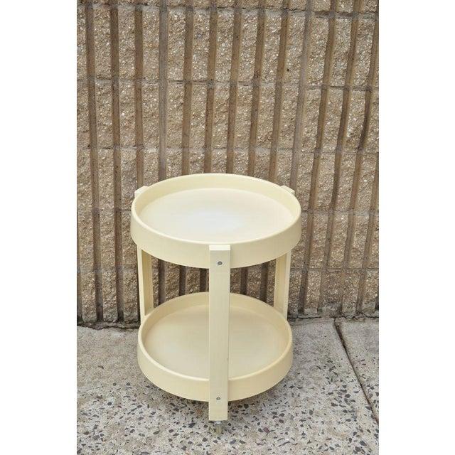 Vintage Joe Colombo Style Mid Century Modern Plastic Round Bar Tea Cart - Image 2 of 11