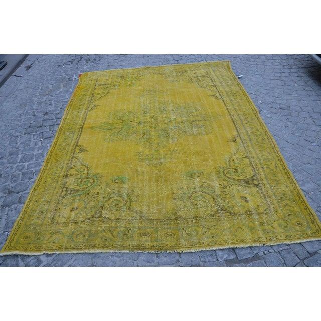 Turkish Handmade Yellow Rug - 6′1″ × 8′7″ - Image 2 of 6