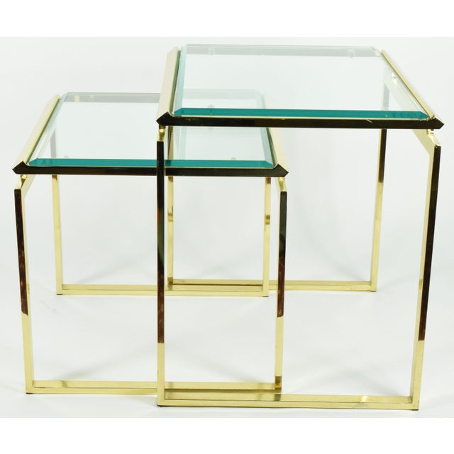 Pair of Brass & Glass Modernist Nesting Tables - Image 3 of 8