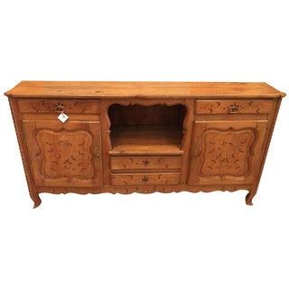 Antique French Country Inlaid Fruitwood Buffet or Sideboard