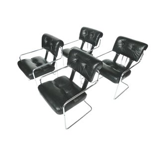 Tucroma Black Leather & Chrome Dining Chairs - Set of 4