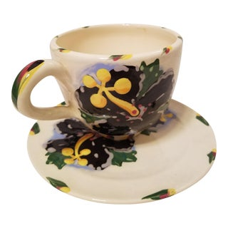 Hand Painted Folk Art Style Cup and Saucer