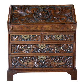 An Intriguing English George II Carved Walnut Slant-Front Desk