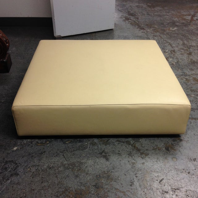 Image of Cream Leather Ottoman by Living Divani