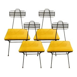 Vintage Mid-Century Bent Iron Dining Chairs - Set of 4
