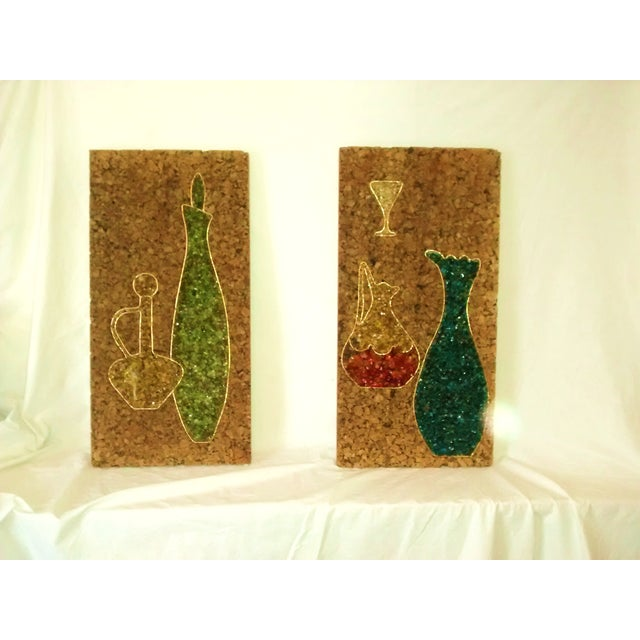 Mid-Century Gravel Cork Board Art - Pair - Image 2 of 6