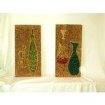 Image of Mid-Century Gravel Cork Board Art - Pair