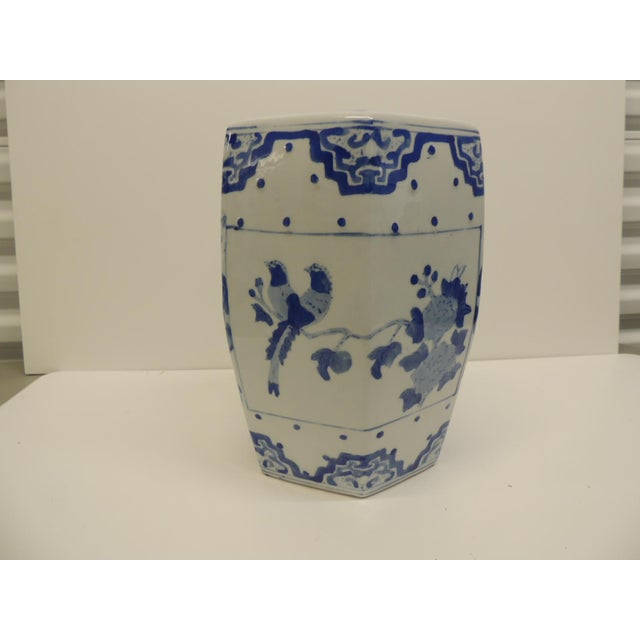 Vintage Blue and White Floral Mini-Garden Stool - Image 2 of 7